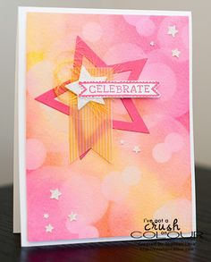 Crush On Colour: Bokeh Technique (Tutorial included) (Sketched Birthday, Star Framelits, Star Confetti Punch from Stampin' Up Scrapbooking, Scrapbook Cards, Star Cards, Beautiful Handmade Cards, Card Making Techniques, Card Tutorials, Sympathy Cards, Card Tags, Happy Birthday Cards