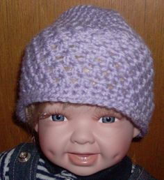 lilac beanie 0 to 3 months by grandmakaystreasures on Etsy, $4.00