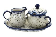 New Blue Rose Polish Pottery Small Dots Sugar & Creamer Tray online shopping - Totoppremium Enamel Dutch Oven, Kitchen Cookware Sets, Baker Shoes, Polish Pottery, Sugar Bowl, Tray, Dots, Casseroles, Blue