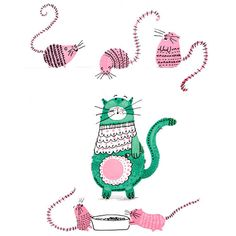 Kids wall art Pink and green Cat and mouse Print by Finefettleshop, £10.00