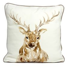 Add rustic country charm to your living space with this beautiful watercolour stag cushion. This charming cushion  brings a touch of  nature to your home and looks fantastic when combined with items from our Sanctuary Home  range - an earthy collection inspired by  countryside landscapes and autumnal woodland creatures. <BR>  <BR>Cover: 100% cotton. Filler: shell 100% polypropylene. Filling  100% polyester. Cover machine washable.