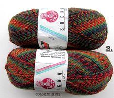 KNITTING WOOL//SOCKA 50//(2 X 50gr.Balls)Sport Wool by-Stahal - Orange/green/Variegated/100 gr. Makes 1-Adult pair/Was(24.00) Now!!