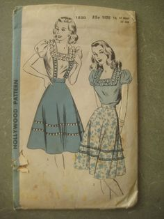 Vintage Hollywood 1830 Sewing Pattern, 1940s Skirt Pattern, Dirndl, Forties Blouse Pattern, Bust 34 Inches.