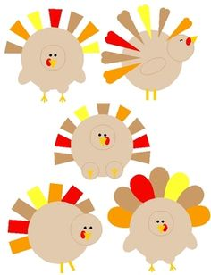 FREE - Shape Turkey Clip Art:  5 PNGs for Thanksgiving and Autumn