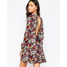 Vero Moda Paisley Print Skater Dress (32 PAB) ❤ liked on Polyvore featuring dresses, total eclipse, open back dress, navy blue dress, paisley dress, navy white dress and open back skater dress