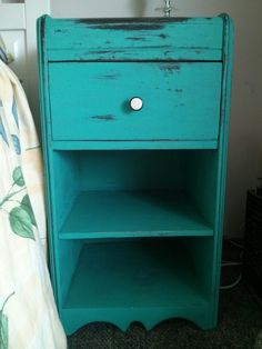 1920s waterfall bedside table in ASP chalk painted and distressed by moi...love the bakelite knob!  Original....paint purchased from #The Paintedbench ottawa street Hamilton.