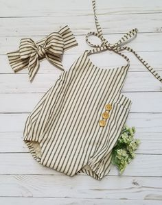 Baby Girls Boho Romper Set-Striped Romper-Girls Vintage style Romper-black and cream Romper outfit-Shabby Chic Romper-sizes NB-18/24 months by GeeBabyDesigns on Etsy