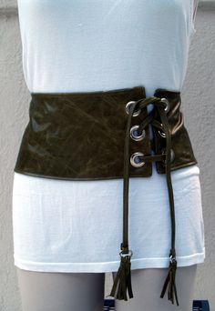 Green Distressed Leather Obi Cinched Waist Belt with Laced Closure OOAK. via Etsy.