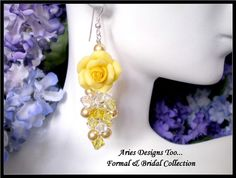Yellow Polymer Clay Rose Earrings on Behance