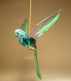"Blown Glass ""Murano"" Figurine Bird Green Hanging PARROT Budgie Ornament"