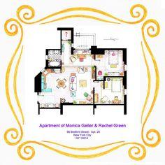 apartment floor plan of Monica and Rachel from Friends by Inaki Aliste Lizarralde-nikneuk
