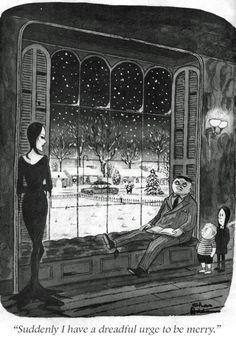 A Christmas Card By Charles Addams - Neatorama