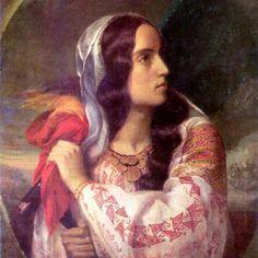 The Romanian Blouse: Revolutionary Romania (portrait of Maria Rosetti) by Constantin Daniel Rosenthal 1848 Romanian Flag, Romanian Girls, National Symbols, Art Database, Bucharest, Art Images, Art History, Folk Art, Art Gallery