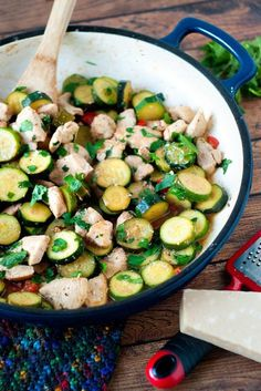 It turns outzucchini doesn't have to be dipped in beer batter, fried to golden crispy perfection and dunked in ranch dressing to be delicious! This chicken and zucchini saute recipe uses just a handful of ingredients and is ready in under 30 minutes. via