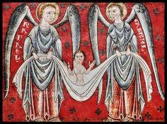 Detalle del Frontal de los Arcángeles - Pintura Románica, Museo Nacional de Arte de Cataluña