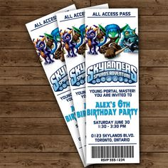 SKYLANDERS Ticket Invitation - Skylanders Birthday Party
