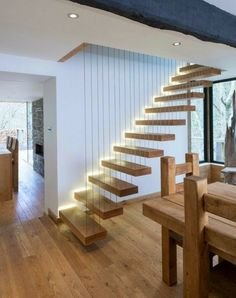 LED lights Andre cozy house with wooden stairs