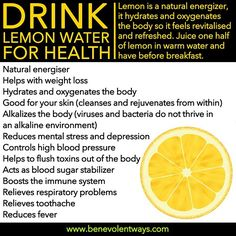 Numero UNO : Daily consumption of Lemon & Water helps reduces mental stress and depression daily Health And Beauty, Health And Wellness, Health Fitness, Healthy Tips, How To Stay Healthy, Healthy Drinks, Healthy Choices, Healthy Snacks, Healthy Recipes