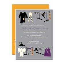 Creepy Clothesline Halloween Invitations