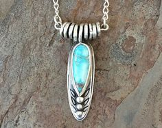 Chrysocolla and Fine Silver Necklace. Handmade by coldfeetjewelry