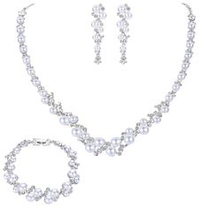 EVER FAITH® Simulated Pearl Crystal Bridal Necklace Earrings Bracelet Set Clear >>> Read more reviews of the product by visiting the link on the image.