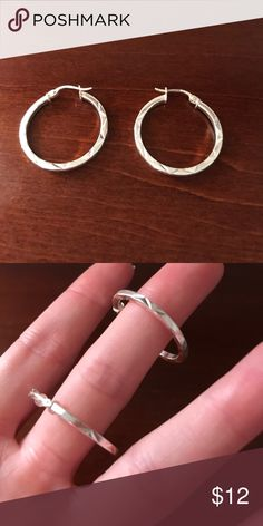 6 listings for $20! Sterling Silver Hoops Never worn! Bright and pretty in person. Good size. Jewelry Earrings