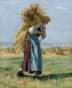 Julien Dupré (French painter) 1851 - 1910 In the Fields, 1887 oil on canvas 18 x 15 in. Barbizon School, Kunst Online, Illustration Art, Illustrations, Wow Art, Beautiful Paintings, Oeuvre D'art, Female Art, Painting & Drawing