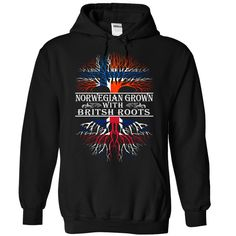 (New Tshirt Coupons) NORWAY GROWN WITH BRITISH ROOTS [Tshirt design] Hoodies, Tee Shirts