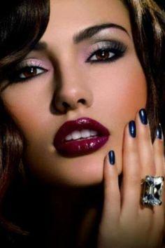 .Smokey eye, ruby lip