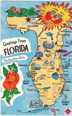 Vintage Postcard Florida Pictorial Map Unused Chrome FL 1970s