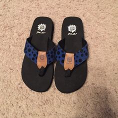 Yellow Box flip flops Yellow box flip flops new without tags never worn and blue with black polka dots Yellow Box Shoes Sandals