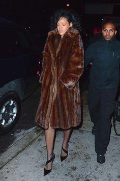 Rihanna - mink fur coat