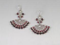 Flamenco Skirt Earrings Garnet Earring Gift For Women Drop Earrings Granulation Earrings January Birthstone Cherry Red Earrings Gift For Her by AtehModus on Etsy