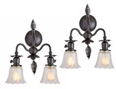 Rejuvenation Pair of Wrought Iron Victorian Wall Sconces
