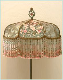 Victorian lampshade with antique french embroidery the shade is victorian lampshade with antique french embroidery the shade is turban style and is dyed pale blue to soft champagne pink and victorian lampshades aloadofball Gallery