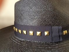 Black Studded Hat by Prymal.  Authentic Toquilla Straw Hat (Panama Hat) - 100% Handmade in Ecuador