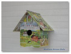 Bookish birdhouse made with Foam Core, Mod Podge, Little Golden Book