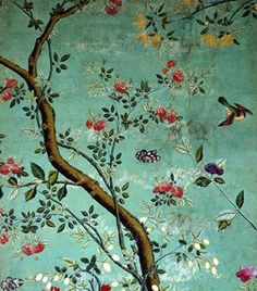 Chinese Wallpaper, (Wallpaper with flowering shrubs and fruit bees, on - Cheap bird print wallpaper Chinoiserie Wallpaper, Fabric Wallpaper, Of Wallpaper, Designer Wallpaper, Pattern Wallpaper, Beautiful Wallpaper, Vintage Wallpaper Patterns, Victorian Wallpaper, Vintage Wallpapers
