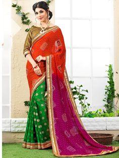 Green with Orange Bandhej Print Embroidered Bandhni Saree