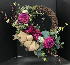 Red Purple Spring Wreath by Andrea