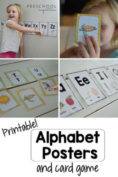 Alphabet posters and cards that are perfect for preschool and kindergarten! Bright, beautiful pictures (that won't drain all your ink!) help the letters come alive! Also included is a hands-on card game for a literacy center. Preschool Alphabet, Preschool Writing, Preschool At Home, Alphabet Activities, Literacy Activities, Alphabet Wall Cards, Alphabet Posters, Pre K Pages, Literacy Skills
