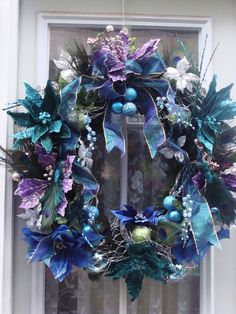 Custom wreath made by Ivyndell on etsy.com.  Love these non-traditional colours!