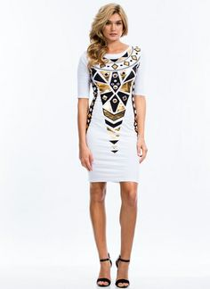 Art Deco-rated Metallic Accent Dress