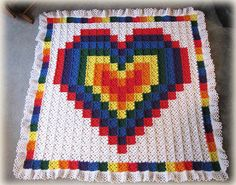 Large collection of crochet quilts - Technicolor Heart