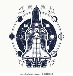 Space shuttle tattoo art. Symbol of space research, the flight to new galaxies. Space shuttle taking off on mission t-shirt design
