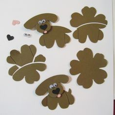 "I created these little pups for the Stampinup #punchitup challenge. These are ""Pansy Punch Pups. I used paper snips, the xtra large oval and a post-it note to create the shapes needed."