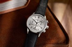 The Frederique Constant Flyback Chronograph Manufacture in steel with silver hobnail dial.