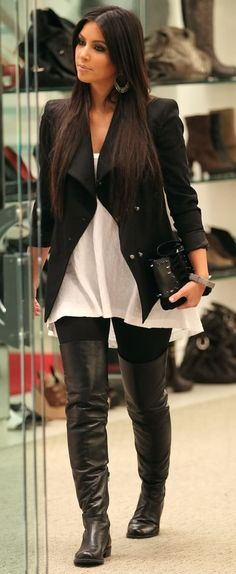 despite kim k- black jacket flowing white shirt black thigh high boots! Look Kim Kardashian, Estilo Kardashian, Kardashian Fashion, Kim K Style, Mode Style, Looks Chic, Looks Style, Fall Winter Outfits, Autumn Winter Fashion