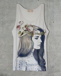 Lana Del Rey Tattoo Off White Tank Top Shirt by tSig36 on Etsy, $14.99