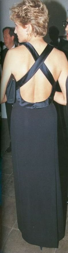 Diana wore this blue-black silk-crepe dress in 1993 for a evening at the Serpentine gallery in London.